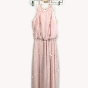 Dresses & Skirts - Formal Blush Sequin High Neck Slit Mermaid Dress